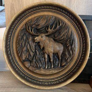 Vintage wooden moose carving plague 1970's artist